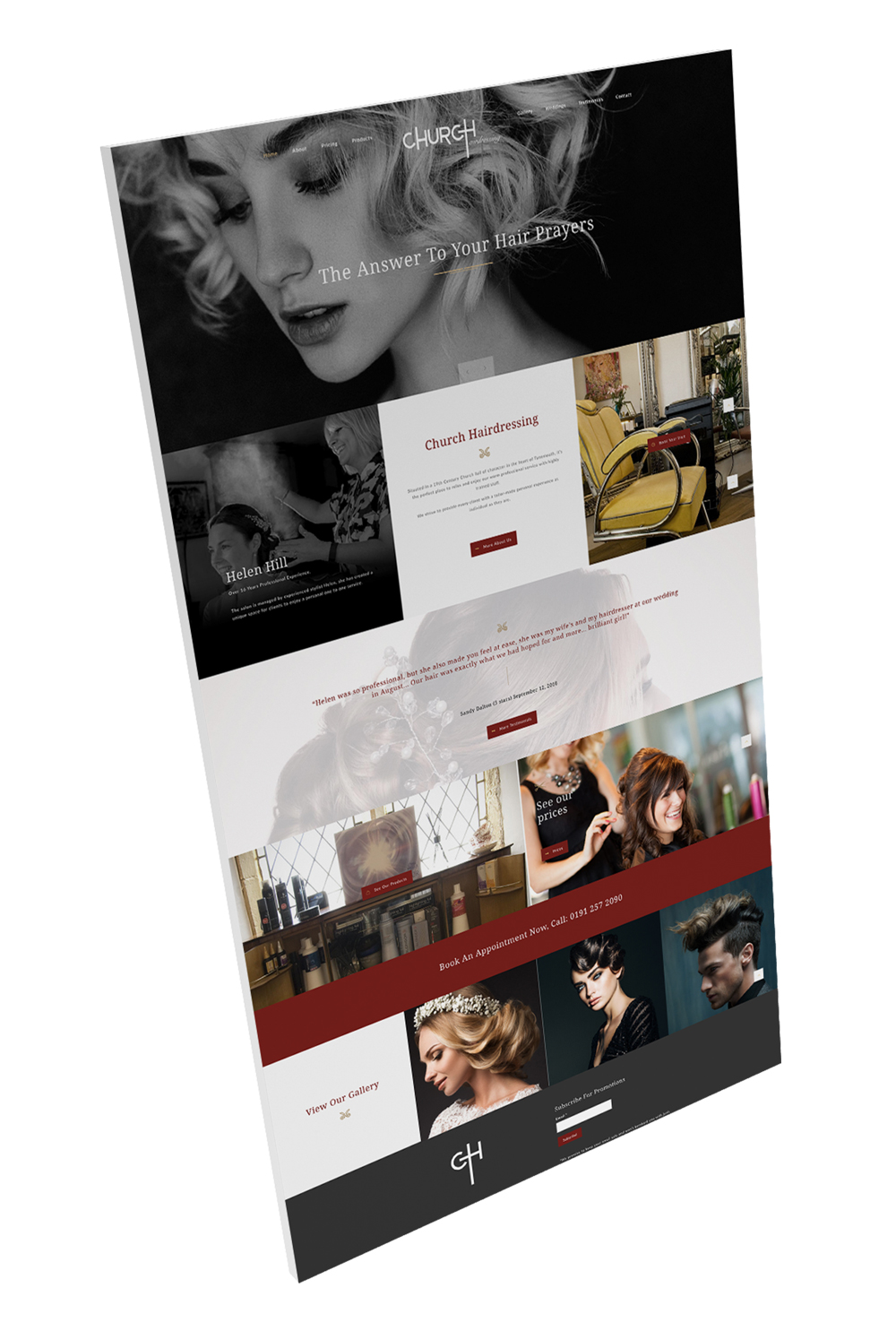 hairdressing website template